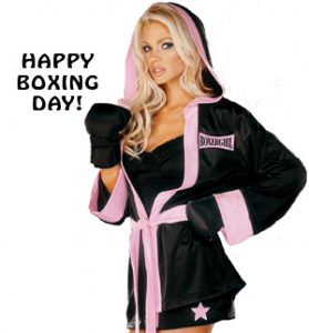 Girl Wishes You Happy Boxing Day Picture -image