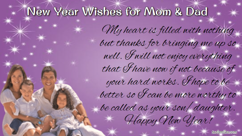 happy New Year Wishes for Parents / Mom, Dad
